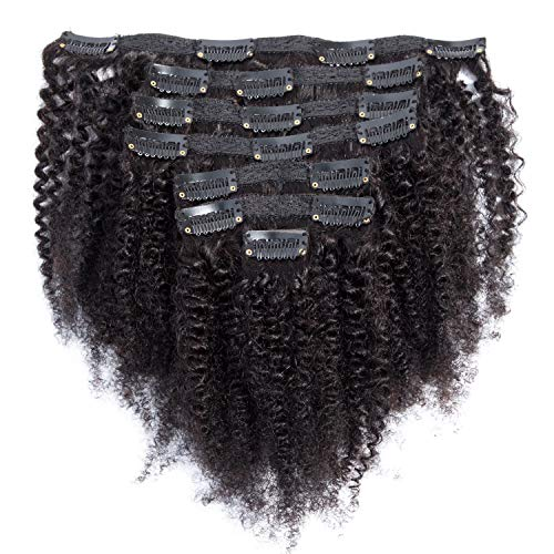 Afro Kinky Curly Clip ins Human Hair Extensions Full Brazilian Virgin Hair 4B 4C Hair For Black Women 100g 7pcs 10