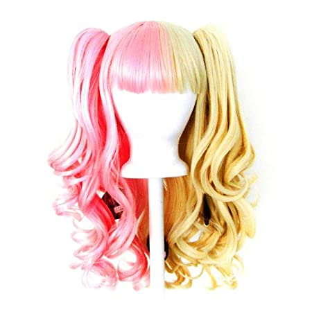 20/'/' Lolita Wig Brown Split Cosplay Gothic Sweet 2 Pig Tails Set Half Blonde