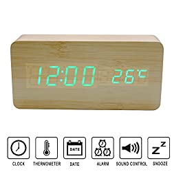 Upgrade Edition Wooden Clock, Colisivan Multi-function Wooden Alarm Clock LED Digital Displays Time Date And Temperature Desk Clock Shelf Clock with Sound Control (Light Brown Wooden)