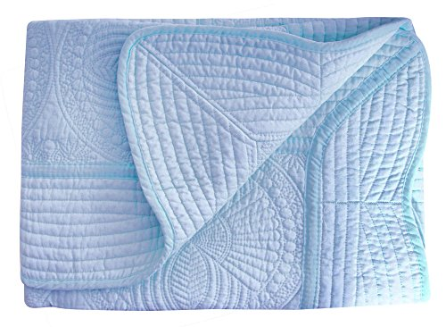 Infant Navy Blue Light - AshopZ Lightweight All Weather Embossed Cotton Quilt for Baby and Infant, Blue, 36 inches x48 inches
