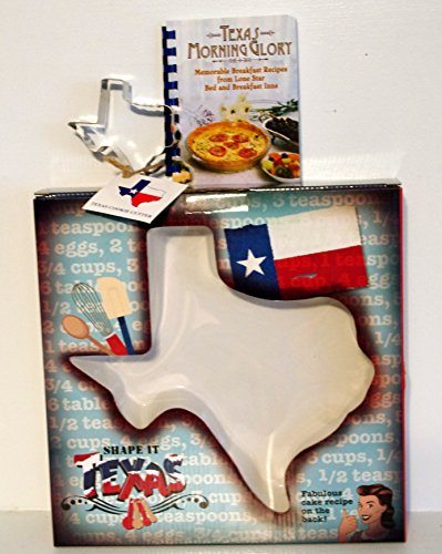 Texas Baking Bundle! Texas Shaped Dolomite Cake Pan, Cookie Cutter & Texas Morning Glory - Memorable Breakfast Recipes from Lone Star Bed and Breakfast Inns Cookbook (Pecan Brownie Recipe)