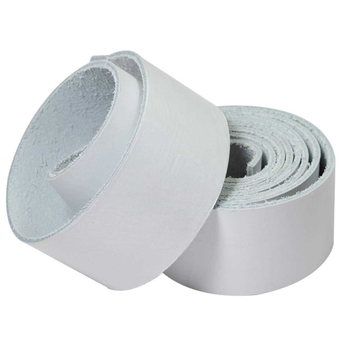 Hide & Drink レザー ストロングストラップ 幅1.25インチ コード編組ストリング 中重量 (厚さ1.6mm) 長さ75インチ クラフト/ツール/ワークショップ用 ::::ホワイト B07KYZFSV1