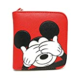 Disney Mickey Mouse Hide Lightweight Wallet Card Coin Holder for Kids (Red)