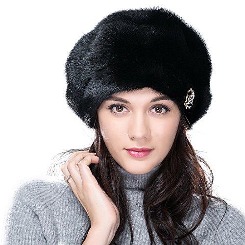 URSFUR Mink Fur Women's Beret Fur Hat Shinning Brim Black