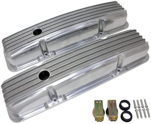 Finned Short Polished Aluminum Valve Covers W//Holes 350 for SBC Small Block Chevy