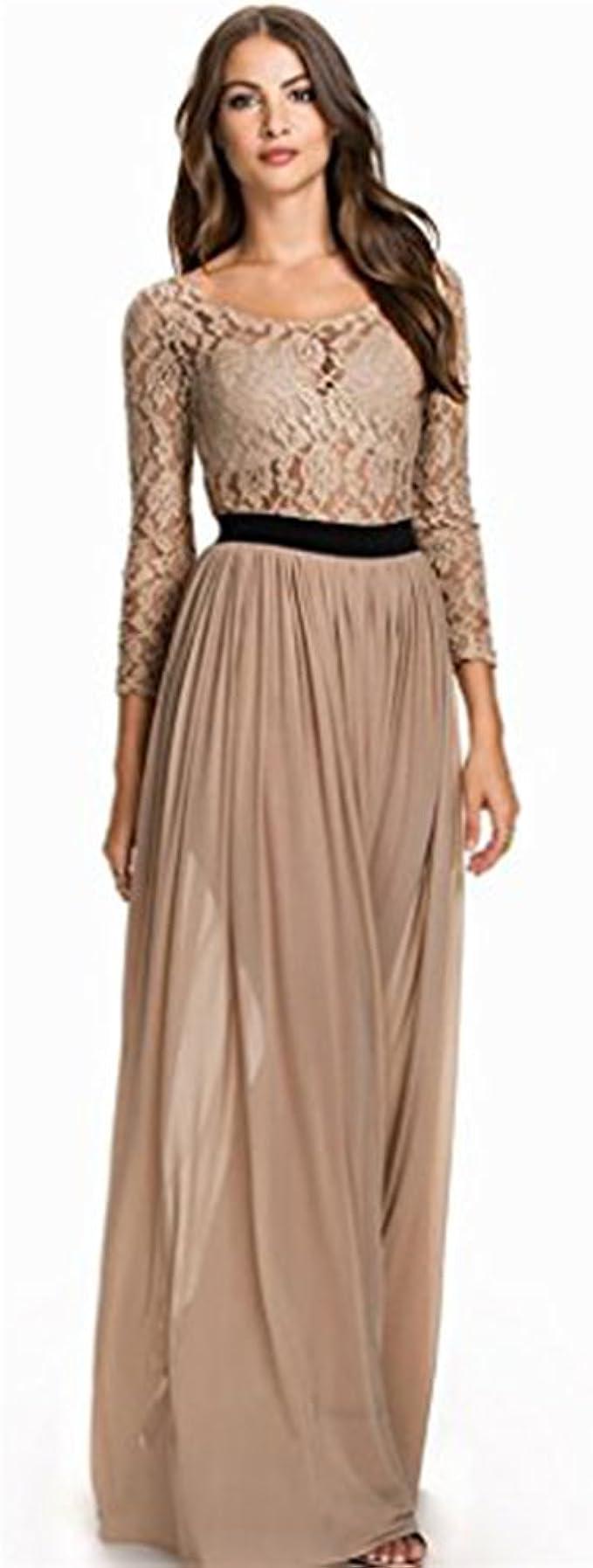 Kleid langes Abendkleid in Spitze und chiffon - Dunkelbeige