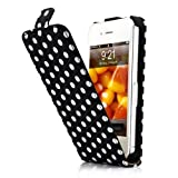 HM Black and White Polka Dot Pattern Magnet Flip Hard Leather Case For Apple iPhone 4S / 4 (AT&T, Verizon, Sprint)