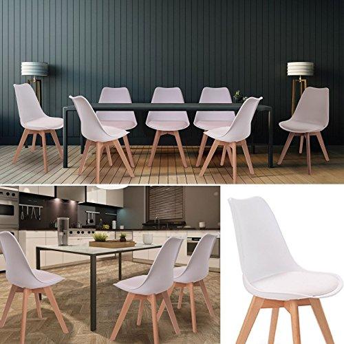 Chaises X4 SARA Blanches pour Salle /à Manger Design scandinave IDMarket