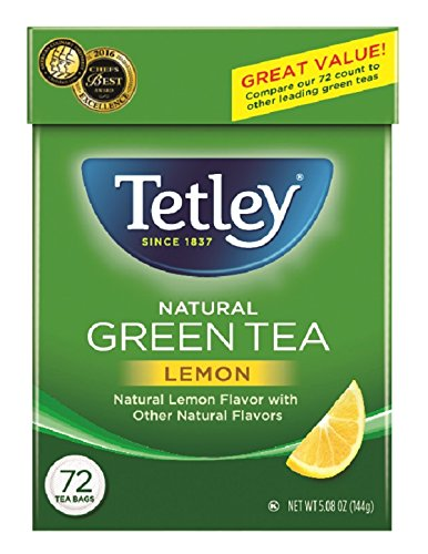 Tetley Green Tea, with Lemon, 72 Tea Bags (Pack of 6) (Packaging may vary)