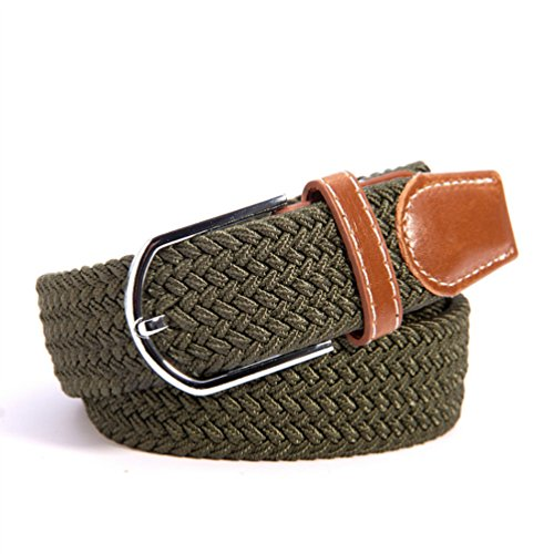 RevoLity Mens Elastic Fabric Woven Braided Stretch Webbed Belt with PU Leather Buckle Length 105cm (Amy - Buckle Length