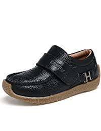VILOCY Boys Leather School Shoes Casual Trainers Boots Low-Top Slip On Loafers Flats