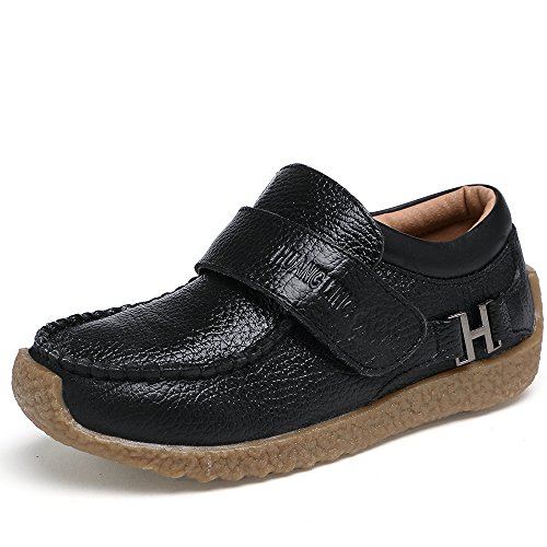 VILOCY Boys Leather School Shoes Casual Trainers Boots Low-Top Slip On Loafers Flats Black,33