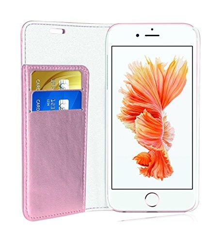 Phonix IP6SPBCO Öko-Leder Buch-Hülle, Glitzernd für Apple iPhone 6S Plus/6 Plus rose-gold