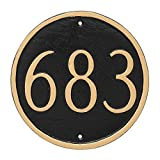 Montague Metal Circle Address Sign Plaque, 6.5'' x 6.5'', White/Black