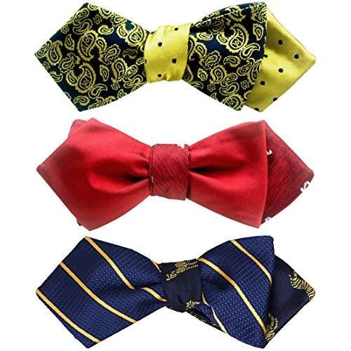 BMC Mens 3pc Reversible Mixed Design Self Tied Adjustable Pointed Tip Style Bow Ties - Set 5 (Reversible Bow Tie)