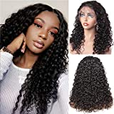 Xtrend 13x6 Frontal Lace Water Wave Human Hair Lace Front Wigs with Baby Hair for Black Women Glueless Virgin Brazilian Hair Lace Front Human Hair Wigs 130% Density Natural Black Color 20inch