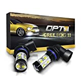 OPT7 H10 (9145 9140 9040) CREE XLamp LED DRL Fog Light Bulbs - 5000K Bright White @ 700 Lm per Bulb - All Bulb Sizes and Colors - 1 Year Warranty (Pack of 2)
