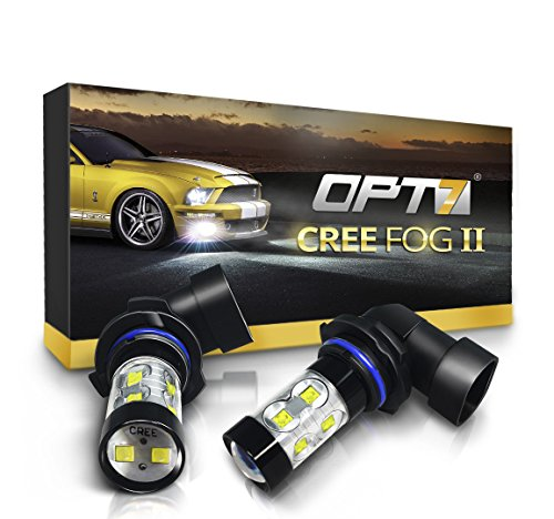 9040) CREE XLamp LED DRL Fog Light Bulbs - 5000K Bright White @ 700 Lm per Bulb - All Bulb Sizes and Colors - 1 Year Warranty (Pack of 2) ()