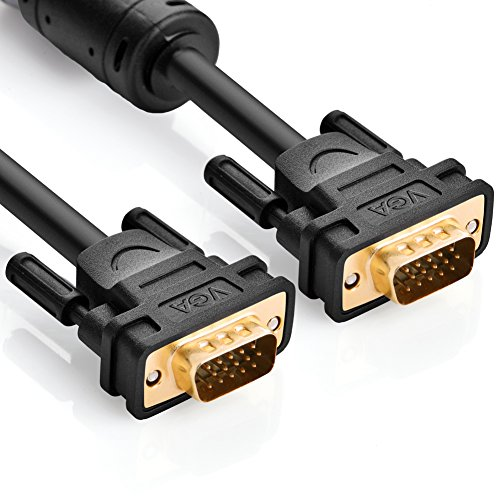 UGREEN VGA/SVGA HD15 Male to Male Video Coaxial Monitor Cable with Ferrite Cores Gold Plated Compatible for Projectors, HDTVs, Displays