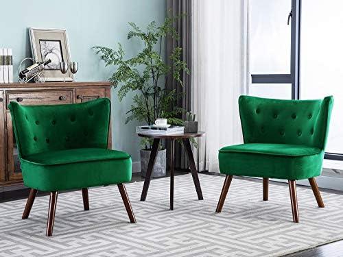 Altrobene Velvet Chairs Set of 2 Modern Accent Wingback Armless Slipper Chairs