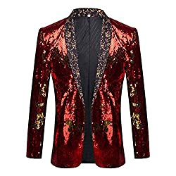 Men Two Color Conversion Sequins Blazer