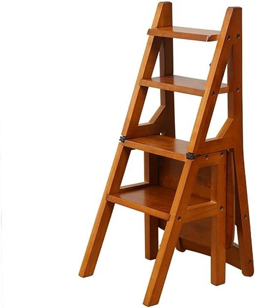LAXF- Sillas Escalera Plegable Madera Taburetes de peldaños de Madera Maciza para Uso doméstico Taburetes de peldaños creativos para Sala de Estar Escalera Variable (Color : A): Amazon.es: Hogar