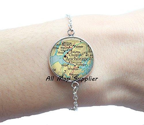 Charming Bracelet,Anchorage map Bracelets, Anchorage Alaska map Bracelet, Anchorage Bracelets, Anchorage - Map Store Anchorage