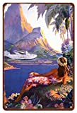 Pacifica Island Art 8in x 12in Vintage Hawaiian Tin Sign - Fly to the South Seas Isles by Paul George Lawler