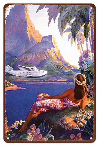 Hawaii Tin (Pacifica Island Art 8in x 12in Vintage Hawaiian Tin Sign - Fly to the South Seas Isles by Paul George Lawler)