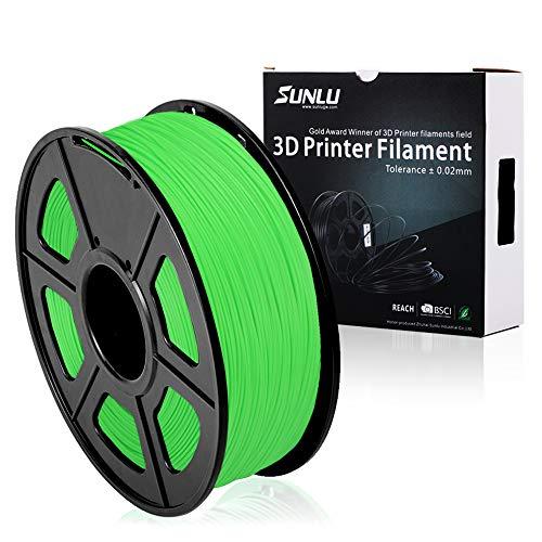 SUNLU PLA Plus 3D Printer Filament - 1KG(335m/1099ft) 1.75mm, Dimensional Accuracy +/- 0.02 mm, 1KG(2.2LBS) Spool 1.75 mm, Green (Grass Green)
