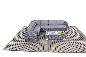 Manhattan Grey Garden Furniture Large Corner Sofa Set Amazonco