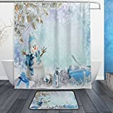 Snowman Shower Curtain Merry Christmas with Elegant Snowman Waterproof Polyester Fabric Shower Curtain (60