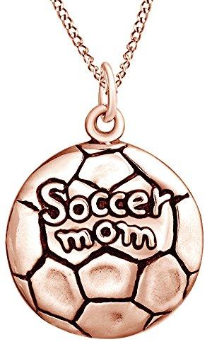 AFFY Soccer Mom Medallion Pendant Necklace In 14K Rose Gold Over Sterling Silver For Mother's Day (Soccer Medallion)