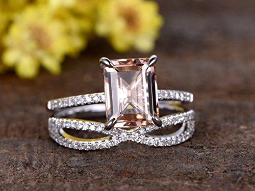 Gold Prong Loop (2pcs Diamond Ring Set,7x9mm Emerald Cut 1.7ct Natural Pink Morganite Solid 14k White Gold 4 Claw Prong Engagement Ring Half Eternity Loop Curved Diamonds Stacking Matching Bridal Wedding Band Sets)
