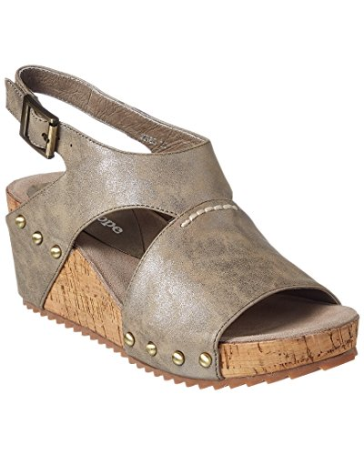 Antelope Womens 585 Metallic Leather Hi Met Stitch Sandals Pewter HZcbzT