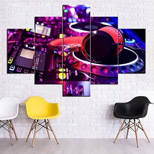 Canvas Prints Wall Art Party Decorations DJ Mixing Paintings Light Show Pictures Walls 5 Panel Artwork Modern Home Decor for Living Room Bedroom Giclee Frame Stretched Ready to Hang(60''Wx40''H)