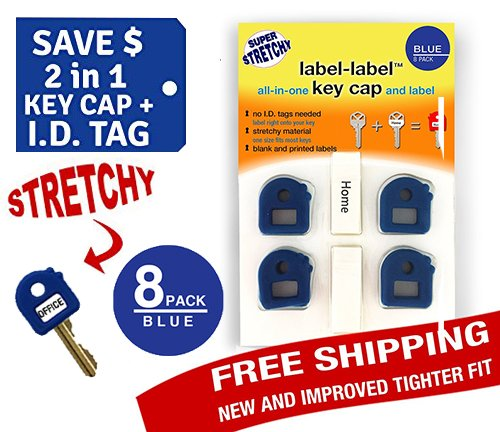 Key Caps Tags - Stretchy 2-in-1 Key Cap AND Tag - 8 Pack - Dark Blue - ONE SIZE FITS MOST KEYS - Dark Blue Pack 8 - Includes Blank Labels and Printed Labels - Key Covers, Name Tags, Identify Tag