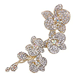EVER FAITH 5 Inch Flower Orchid Clear Austrian Crystal Brooch Pendant Gold Tone