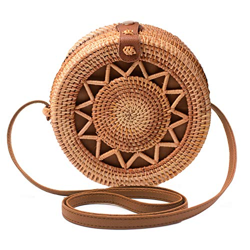 Handwoven Round Rattan Bag Shoulder Leather Straps Natural Chic Hand Gyryp (Leather buttons(star circle)) ()