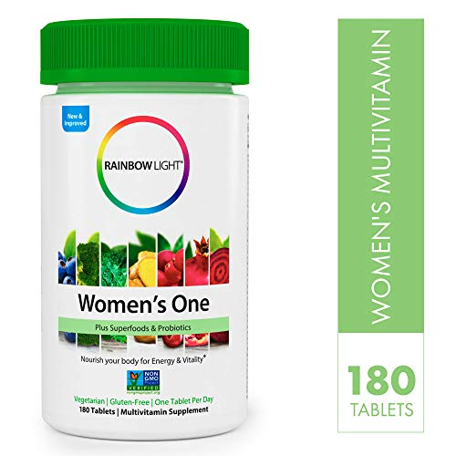 Rainbow Light - Womens One Non-GMO Project Verified Multivitamin - Plus Superfoods & Probiotics - Supports Energy and Vitality, Daily Vitamin Supplement, Gluten-Free, Vegetarian - 180 Tablets