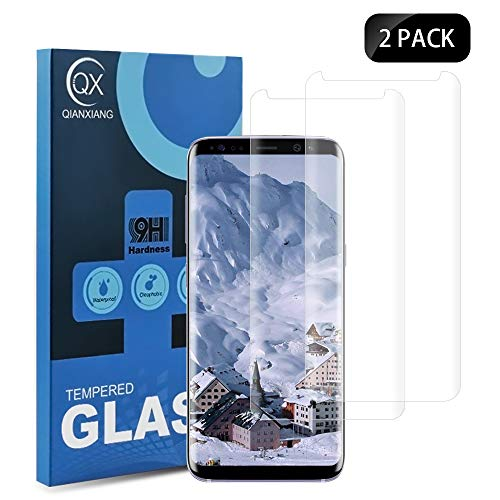 QIANXIANG Screen Protector,[2-Pack] [9H Hardness] [Anti-Fingerprint][No Bubbles] 3D Curved Tempered Glass Screen Protector Compatible with Samsung Galaxy S8 Plus