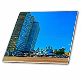 3dRose Alexis Photo-Art - Moscow City - Modern tall building and an ancient church on New Arbat street - 6 Inch Glass Tile (ct_272097_6)