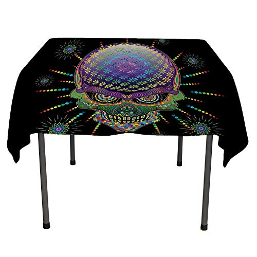 All of better Psychedelic Clear Tablecloth Digital Mexican Sugar Skull Festive Ceremony Halloween Ornate Effects Design Multicolor Tablecloth Waterproof Camping Spring/Summer/Party/Picnic 50 by 80 -