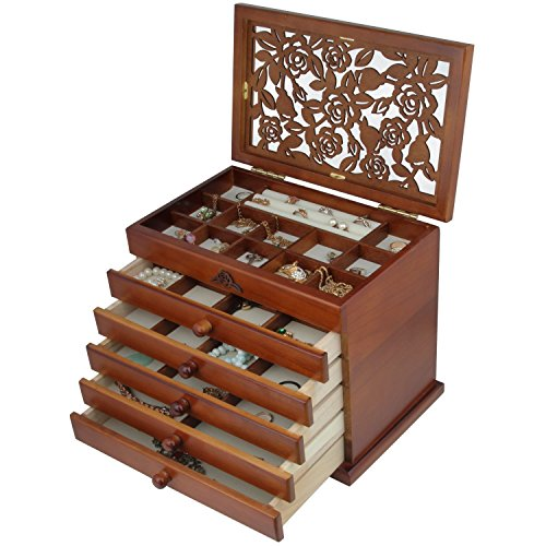 wood jewelry box with drawers - 5
