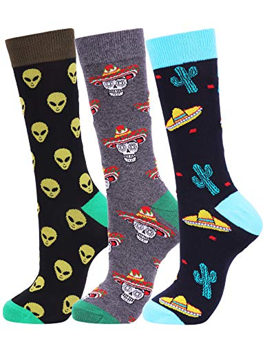 (Mens Fun Cool Crazy Colorful Animal Food Space Alien Pattern Casual Cotton Dress Crew Socks (Alien Cactus Skull))