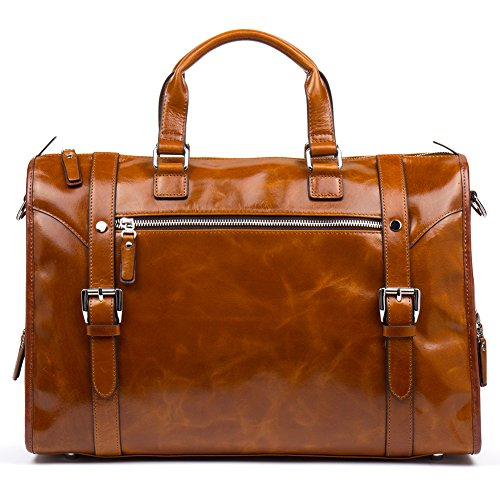 MANTOBRUCE Leather Briefcase Weekender Overnight Duffel Bag Gym Sports Luggage Bags for Men Women by MANTOBRUCE (Image #1)