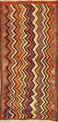 Vintage Color-Full Zig/Zag Hand-Made Gabbeh Persian Area Rug Oriental Wool Carpet 3'X6' (5' 8'' X 3' 3'')