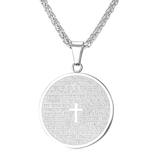 U7 Steel Chain Christian Lord's Prayer and Cross Medallion Pendant Necklace - Boys Medallion Necklace
