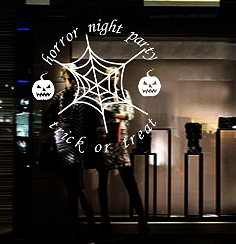 Home Find Horror Night Party Decor Trick or Treat Words Arts Spiderweb and Pumpkin Stickers Halloween Wall Mural Happy Halloween Door Window Decal White 24 inches x 24 inches]()