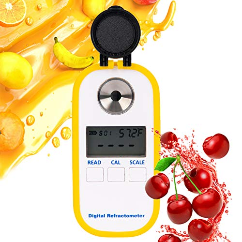 Beslands Refractometer Digital Coffee Sugar Concentration Meter Brix with BRIX/TDS Dual Scale Display Temperature Compensation Multifunction Food Industry Agricultural Juice Fruit Refractomer